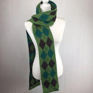 Argyle beadwork Lambswool Angora Green Scarf